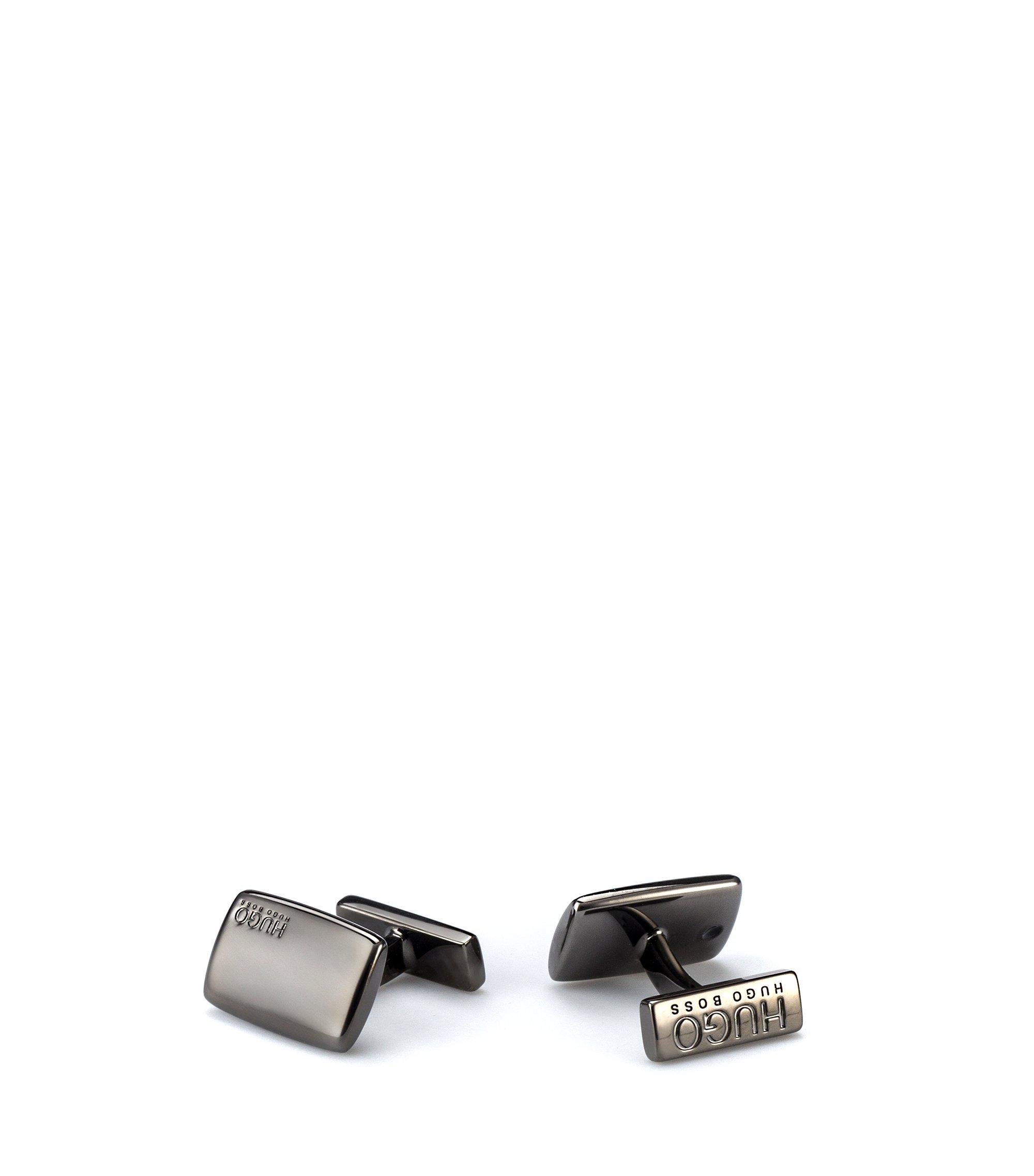 Rechthoekige manchetknopen met vast dwarsstaafje, Donkergrijs