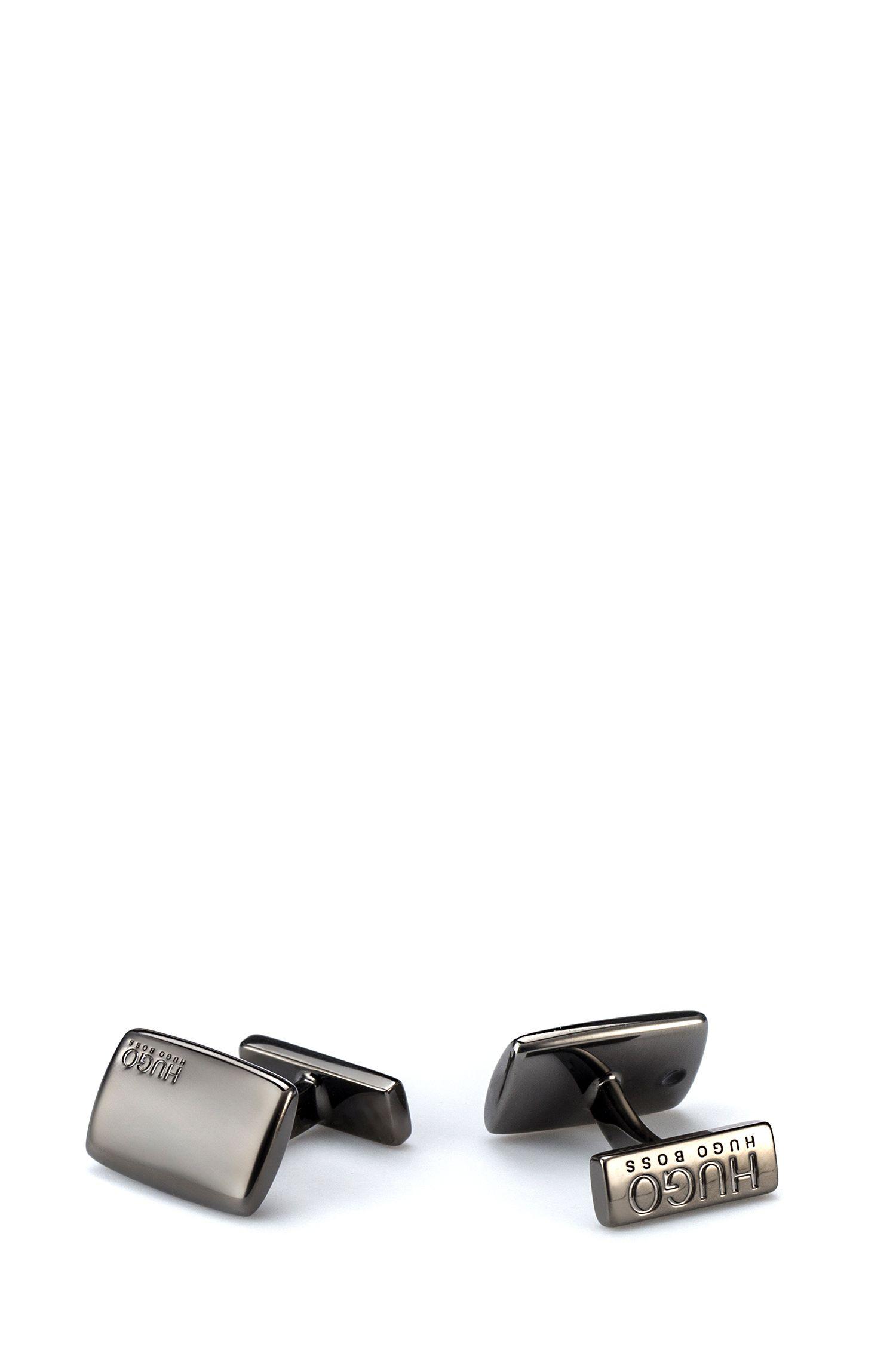 Rectangular cufflinks with fix fastening, Dark Grey