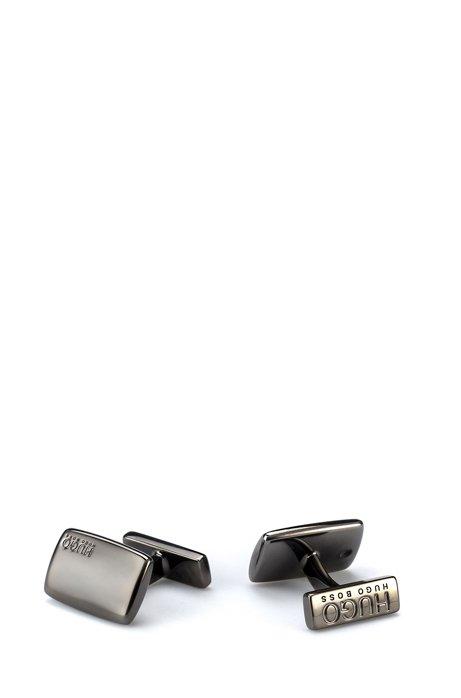 Rechteckige Manschettenknöpfe aus Messing mit fester Rückseite, Dunkelgrau