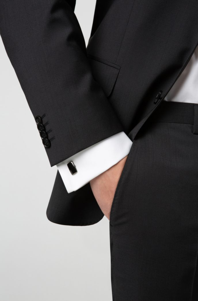 Rectangular cufflinks with fix fastening