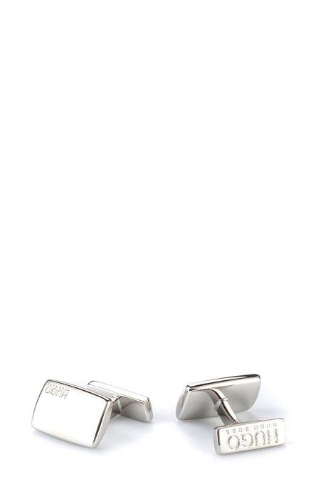 Rechteckige Manschettenknöpfe aus Messing mit fester Rückseite, Silber