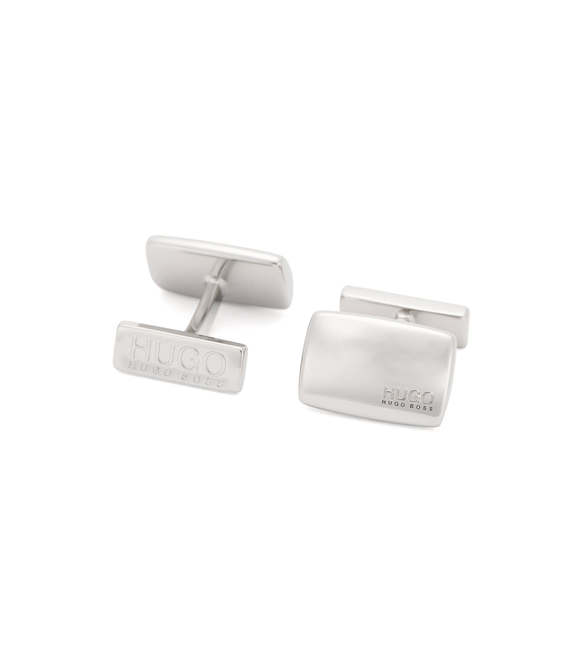 Rectangular cufflinks with fix fastening, Silver