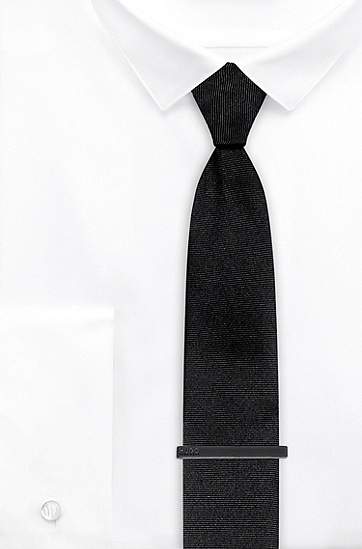 刻印徽标固定扣件领带夹,  021_暗灰色