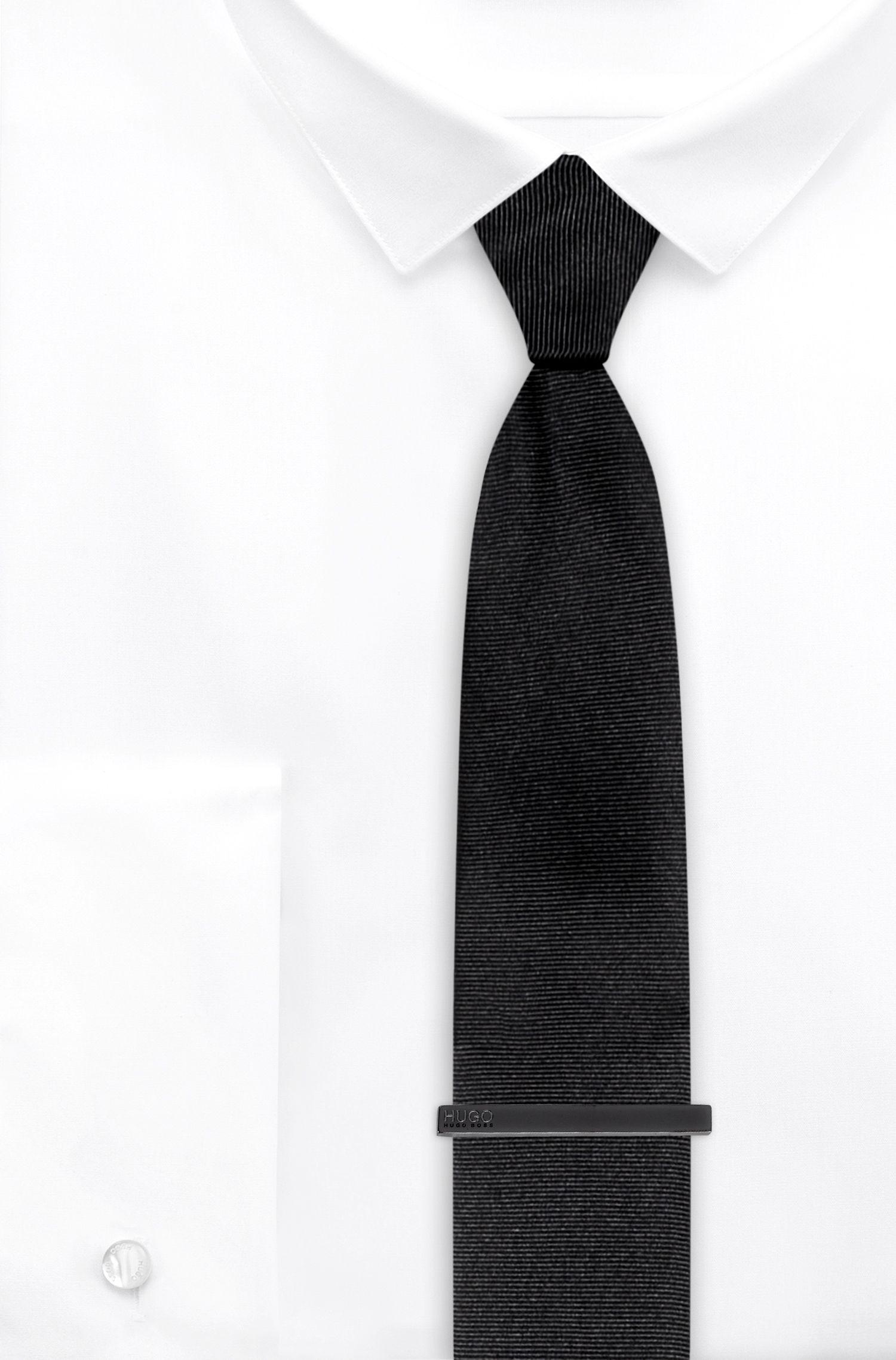 Pince à cravate à attache rapide, ornée du logo gravé, Gris sombre