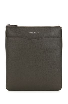 Signature Collection crossbody envelope bag in palmellato leather, Dark Green