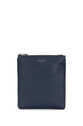 Signature Collection crossbody envelope bag in palmellato leather, Dark Blue