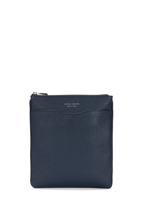 Signature Collection crossbody envelope bag in palmellato leather, Dark Blue