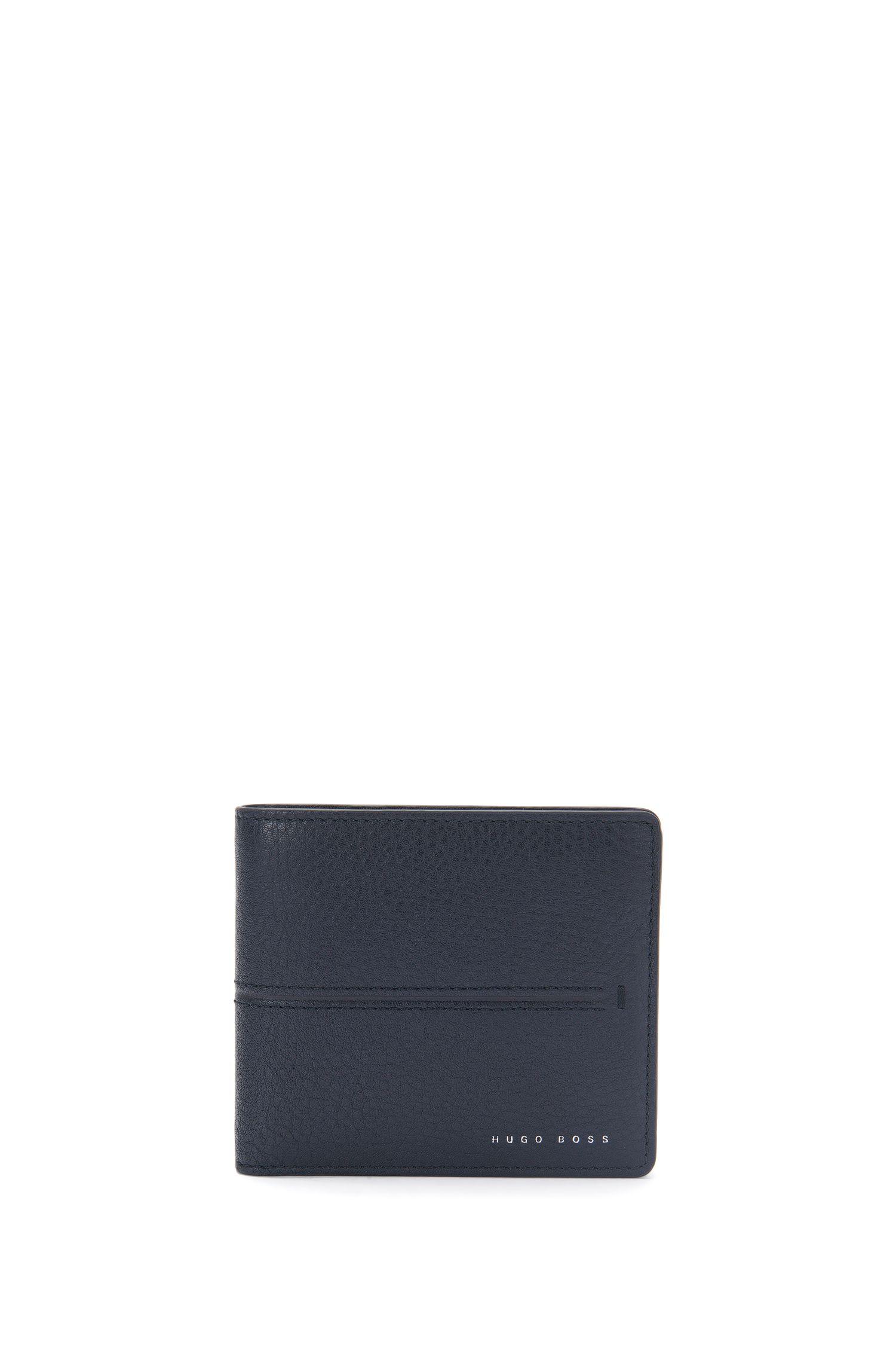 Leren portemonnee met gestempelde strepen: 'Elite_8 cc'