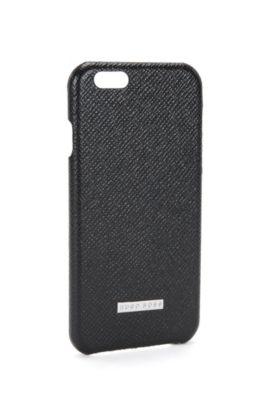 Coque de smartphone de la collection Signature en cuir palmellato, Noir