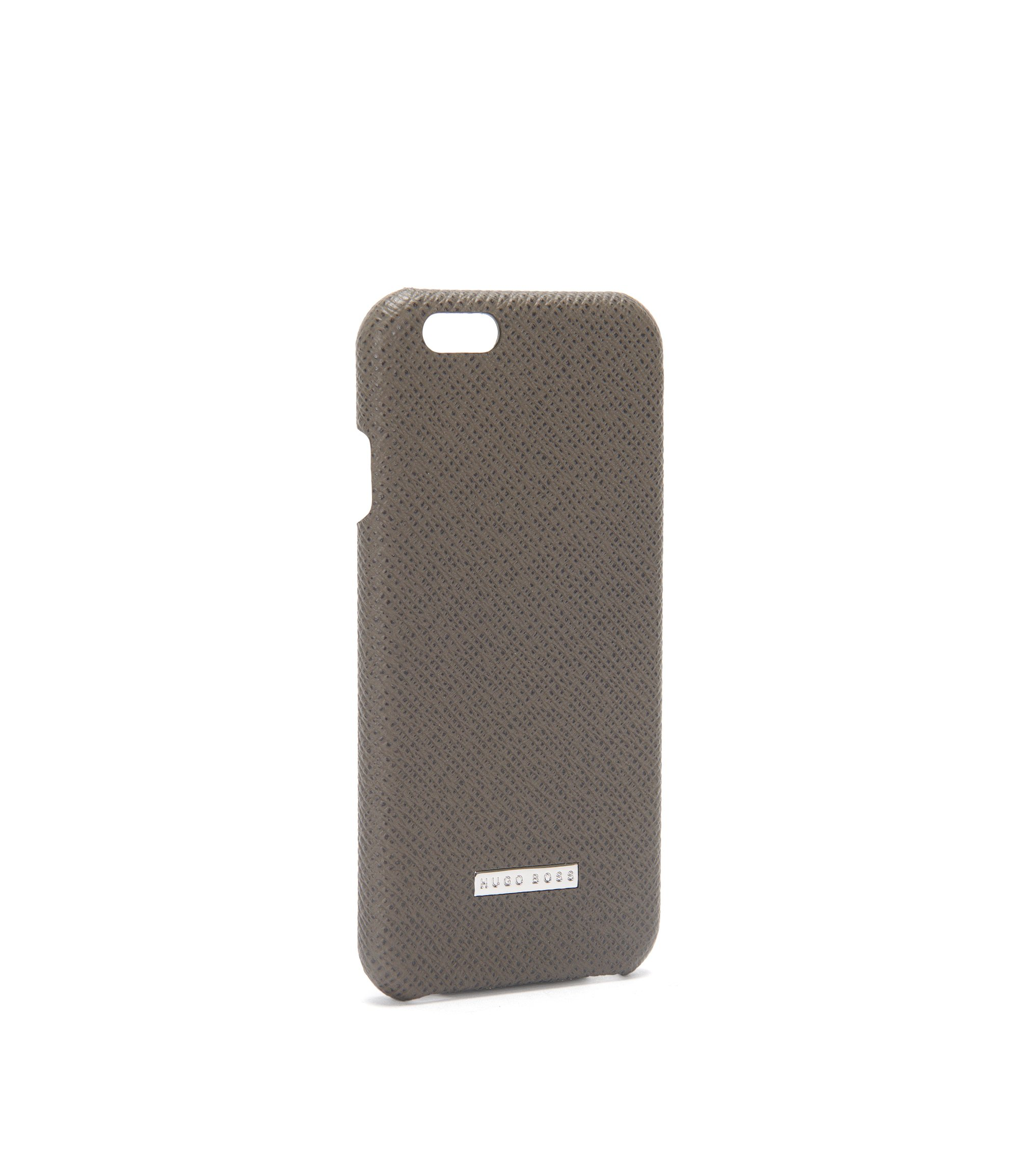 Signature Collection smartphone cover in palmellato leather, Dark Grey