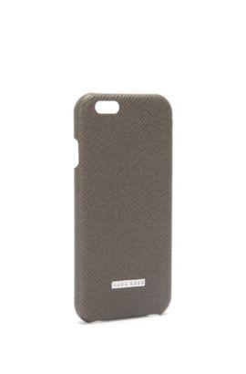 Smartphone-Hülle aus Palmellato-Leder aus der Signature Collection, Dunkelgrau