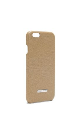 Coque de smartphone de la collection Signature en cuir palmellato, Beige