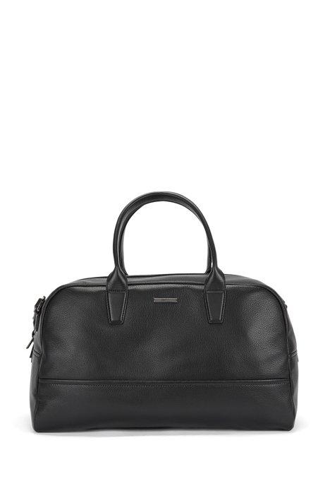 Weekender bag in grained leather: 'Element_Holdall', Black