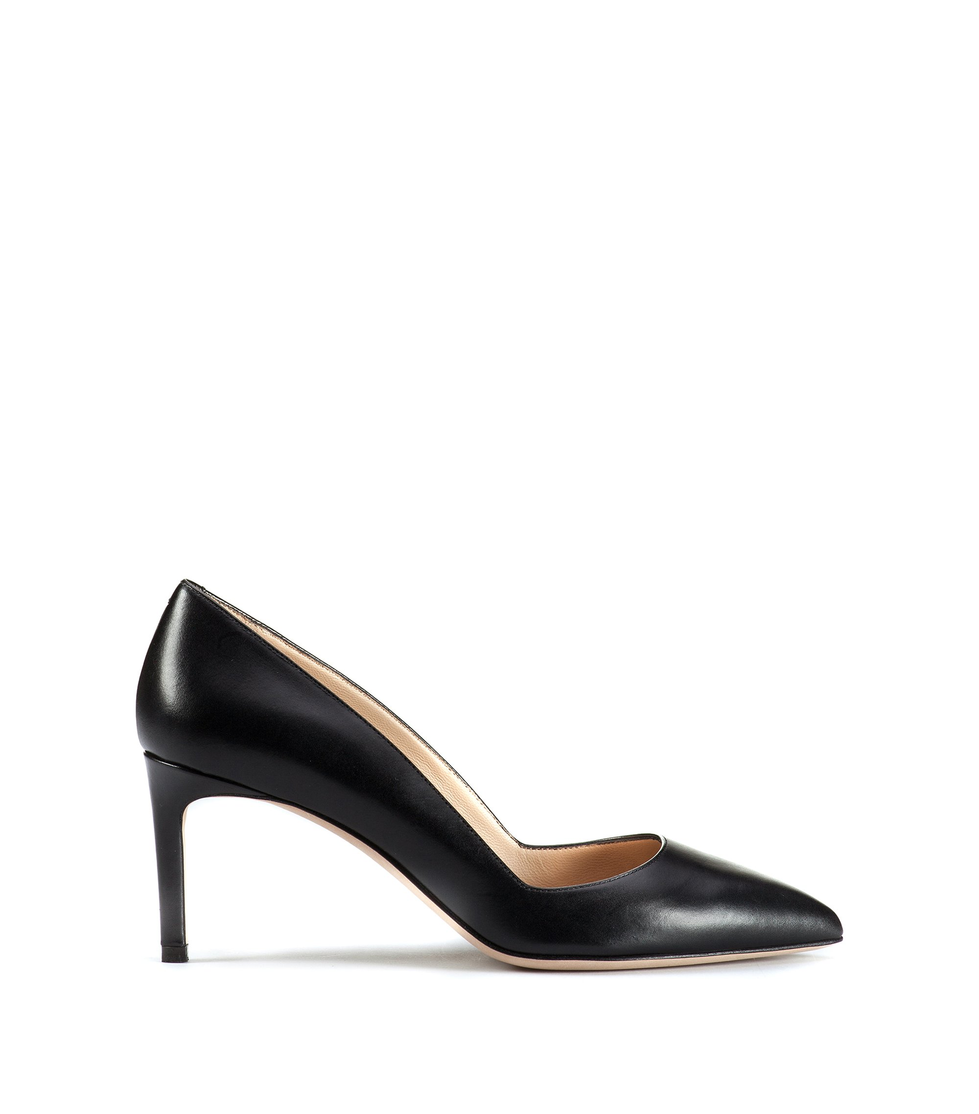 Pointed-toe pumps in smooth Italian leather, Black