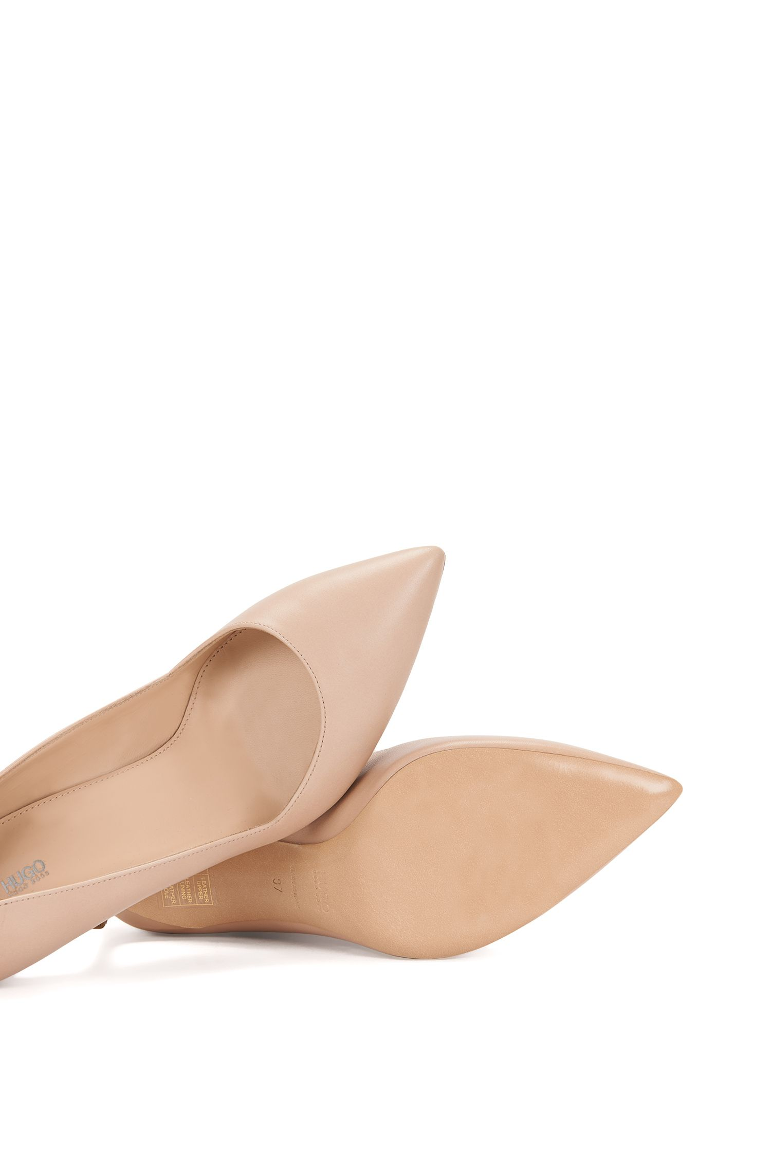 Pointed-toe pumps in smooth Italian leather, Light Beige