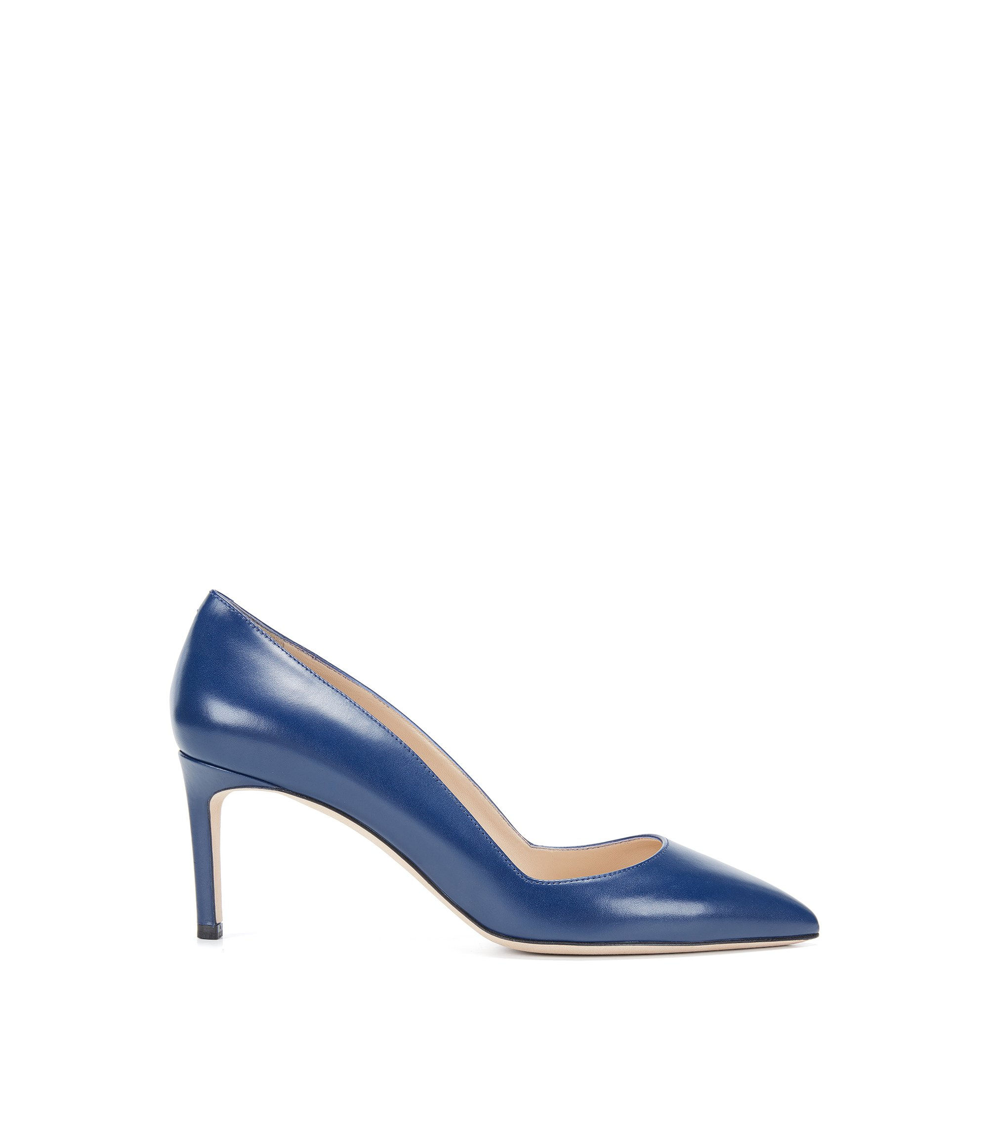 Pointed-toe pumps in smooth Italian leather, Blue