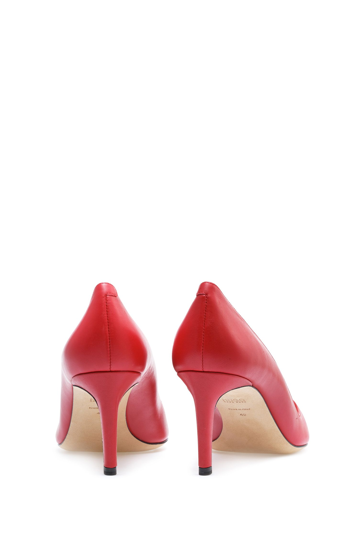 Pointed-toe pumps in smooth Italian leather, Red