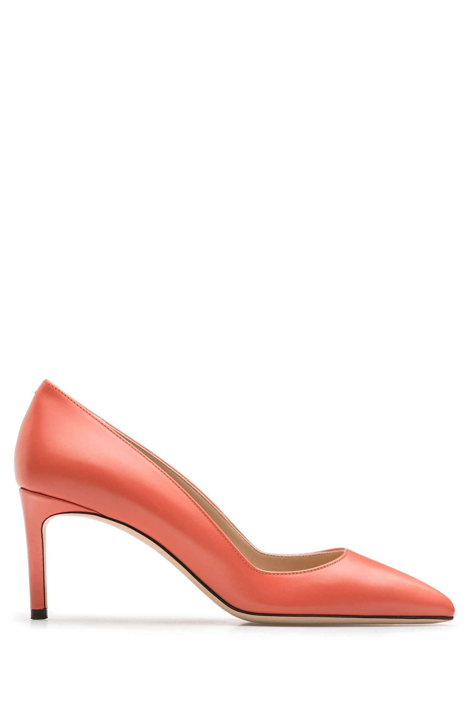 Pointed-toe pumps in smooth Italian leather