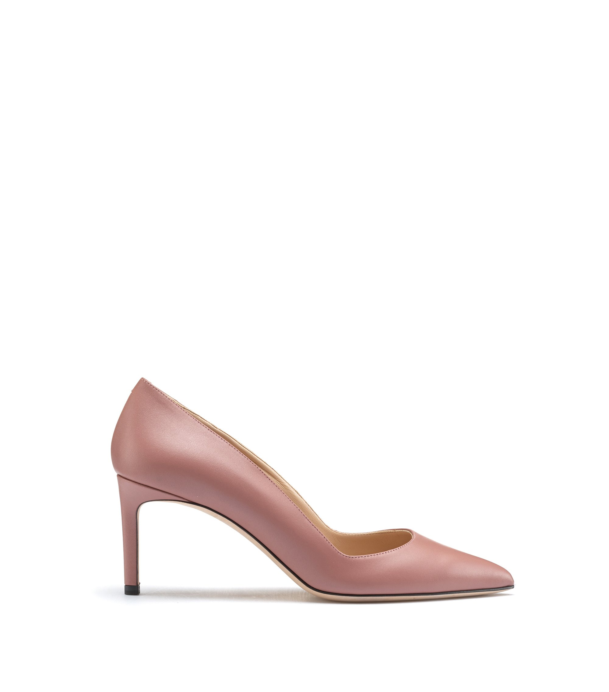 Pointed-toe pumps in smooth Italian leather, light pink
