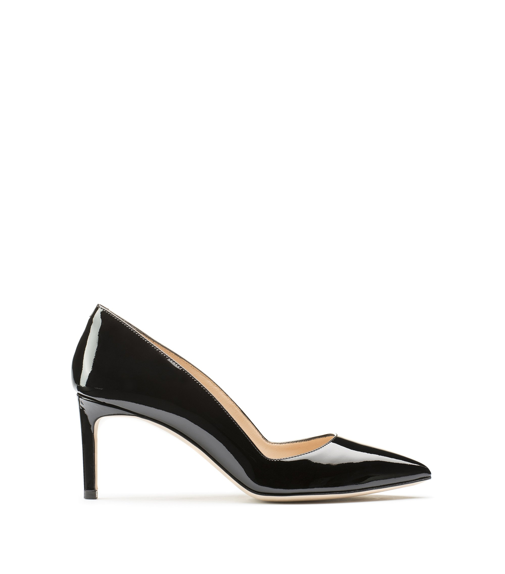 Pointed-toe pumps in patent leather, Black