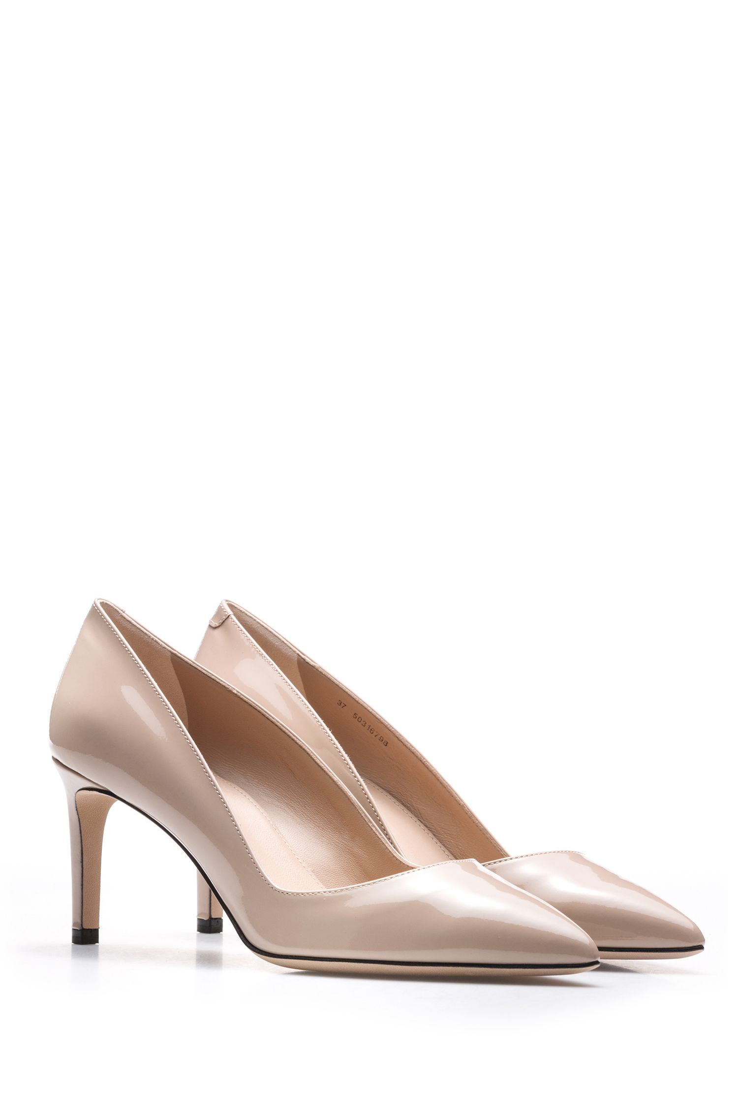 Pointed-toe pumps in patent leather, Light Beige