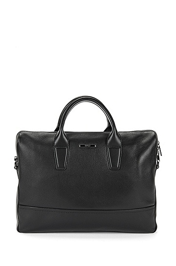 Work bag in grained leather: 'Element_S doc', Black