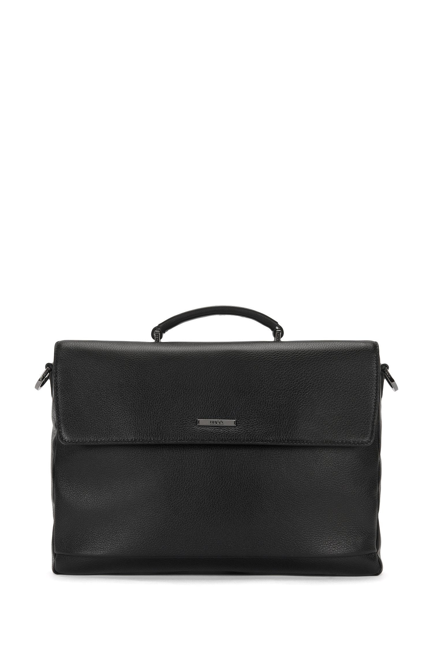 Briefcase in grained leather