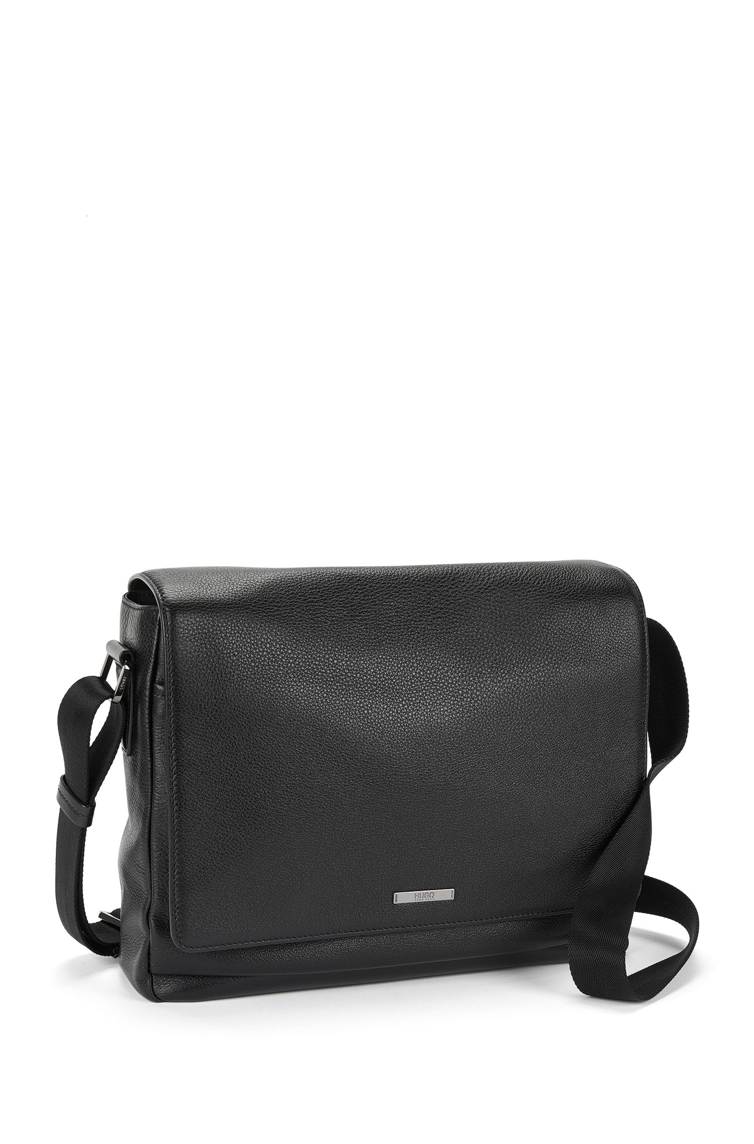 Sac coursier en cuir grené : « Element_Mess flap », Noir