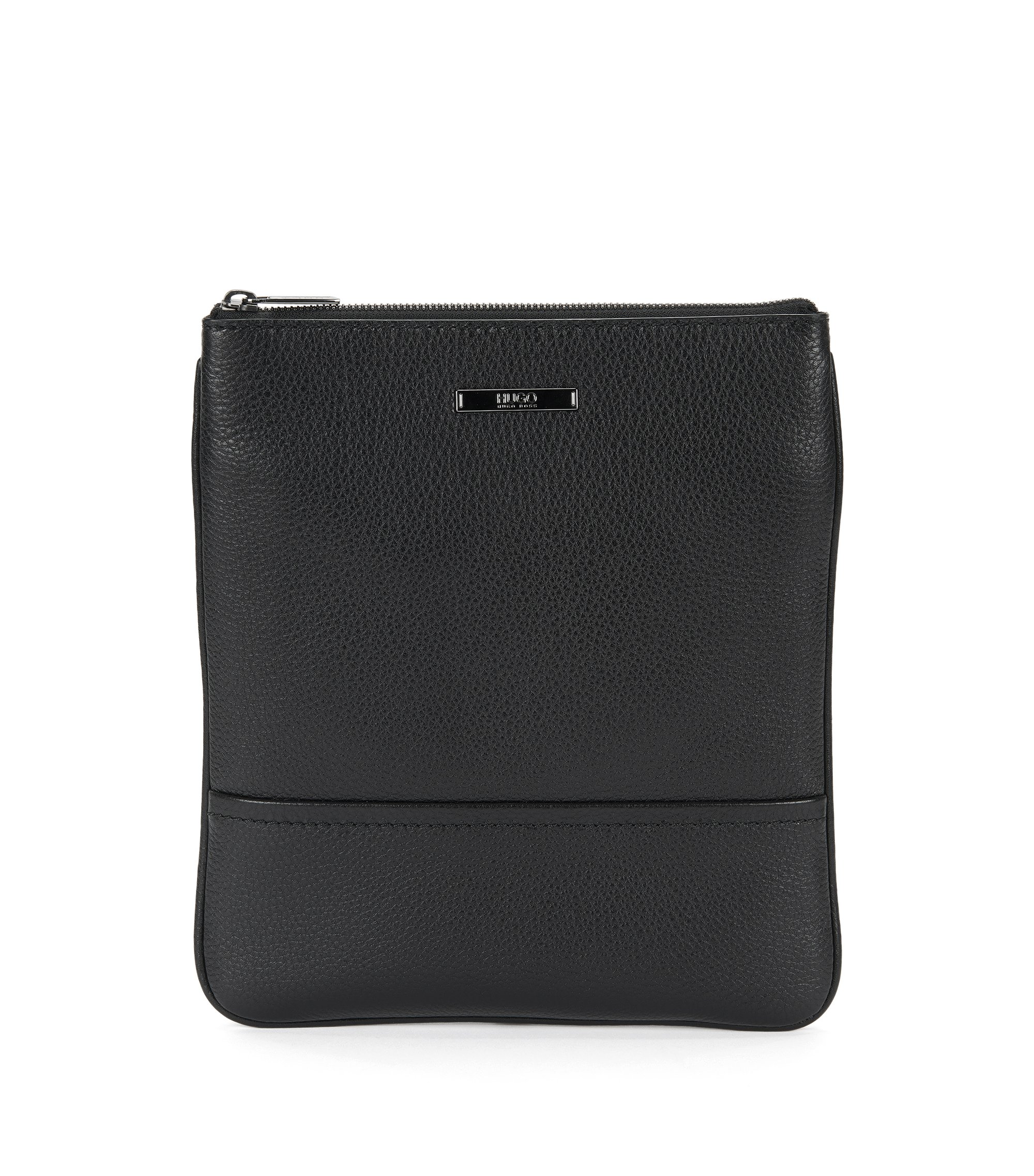 Grained leather pouch with shoulder strap, Black