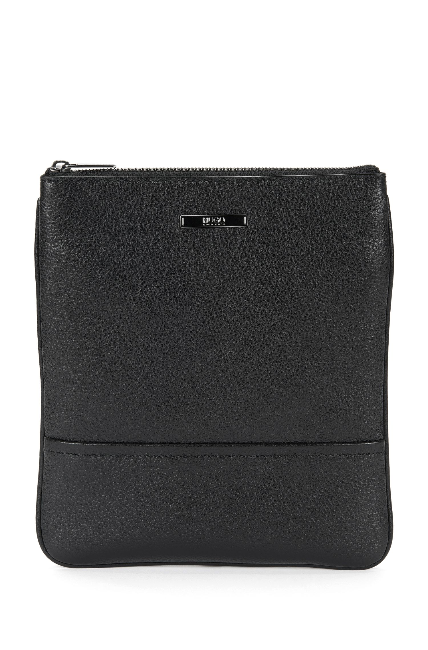 Grained leather pouch with shoulder strap