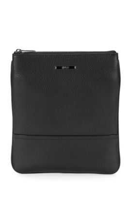 Pouch in embossed leather: 'Element_S zip env', Black