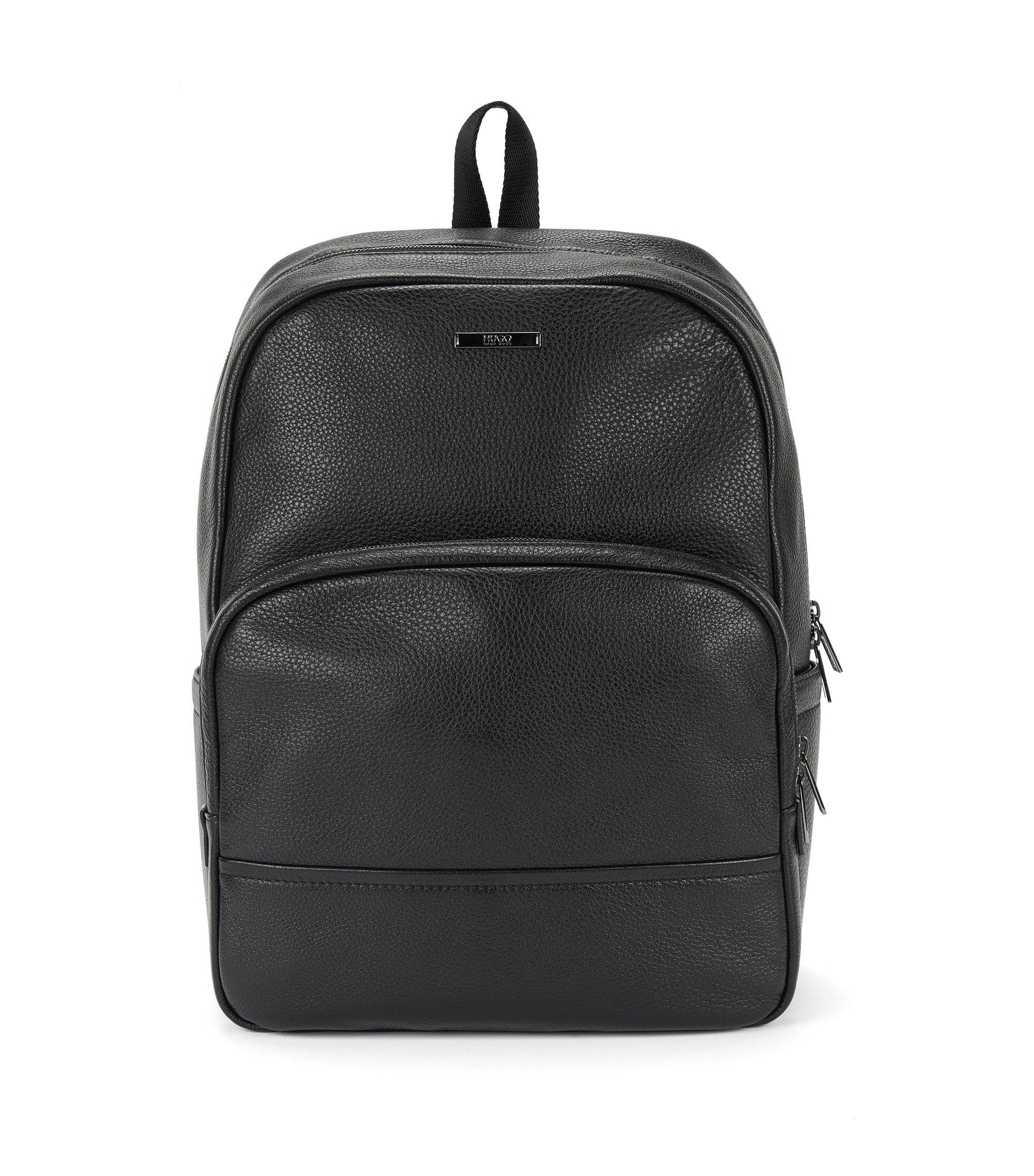 Zaino in pelle con nervature: 'Element_Backpack', Nero