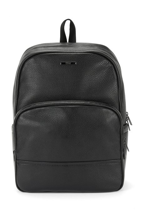 Rucksack in grained leather: 'Element_Backpack', Black