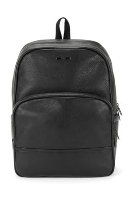 Zaino in pelle con nervature: 'Element_Backpack', Nero