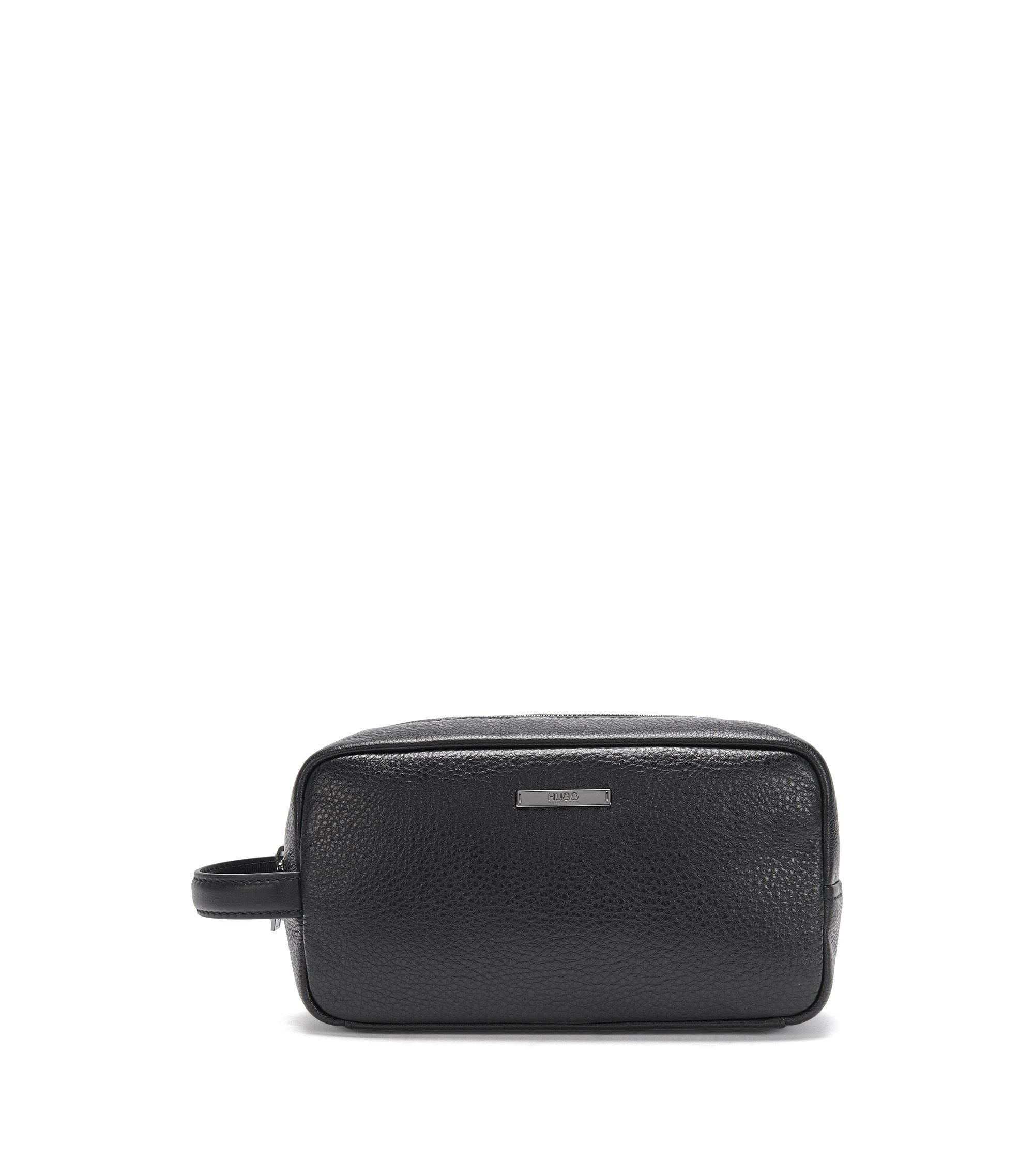 Leather wash bag: 'Element_Washbag', Black