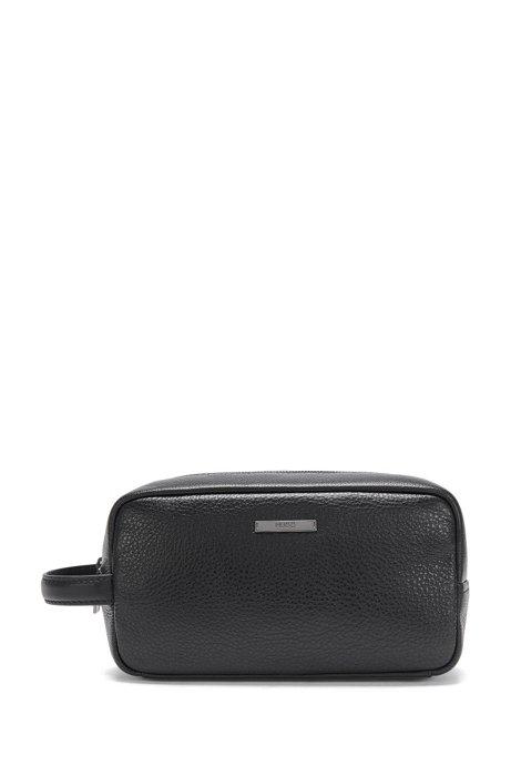 Leather wash bag: 'Element_Washbag', Black