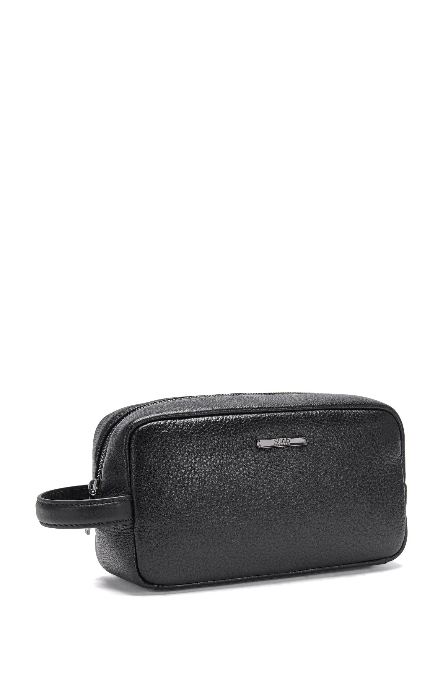 Trousse de toilette en cuir : « Element_Washbag », Noir