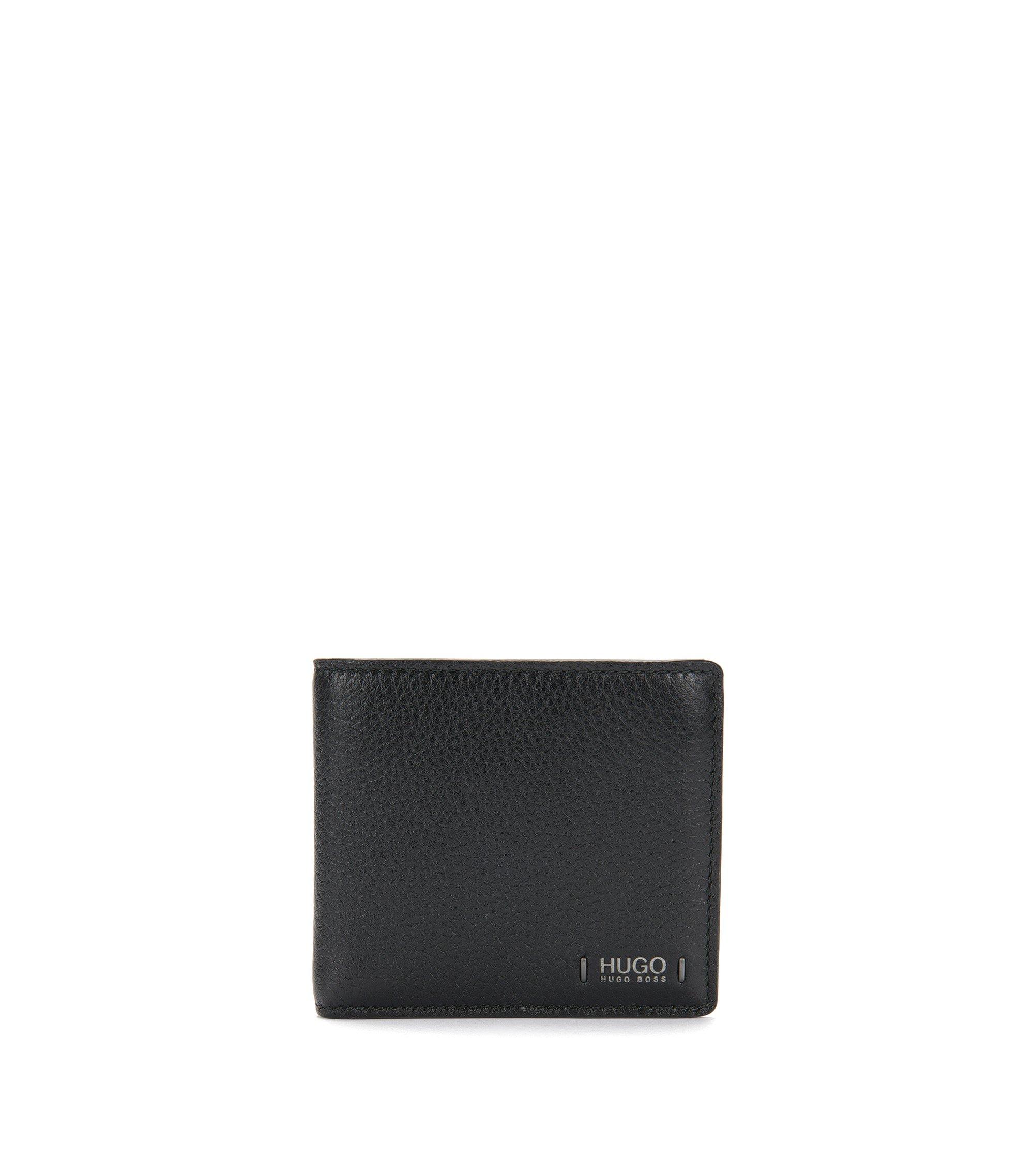 Openklapbare portemonnee van generfd rundleer met acht vakjes voor pasjes, Zwart