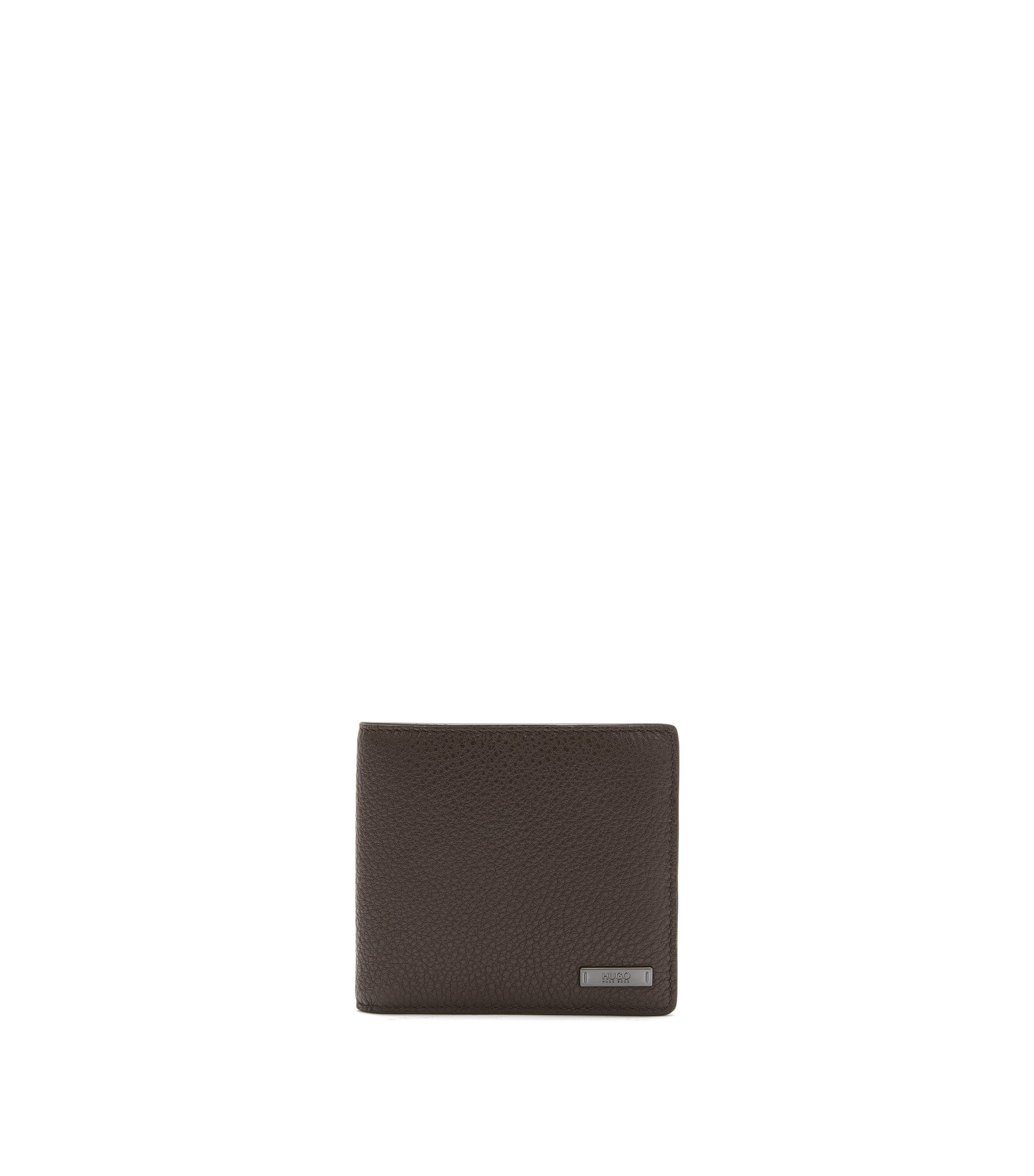 Grained leather bifold wallet with eight card slots, Dark Brown