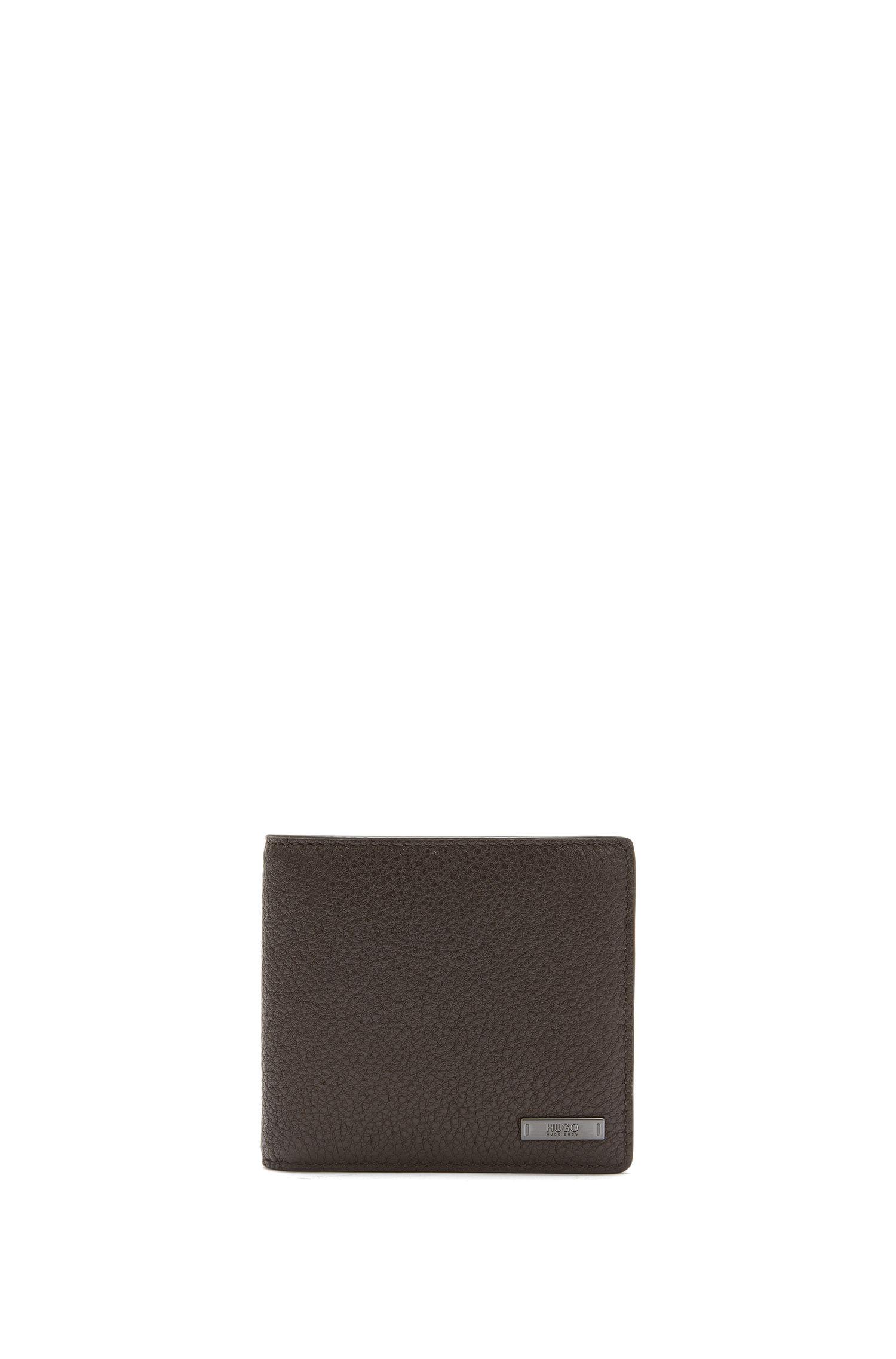 Portafoglio bi-fold in pelle martellata con otto scomparti per carte
