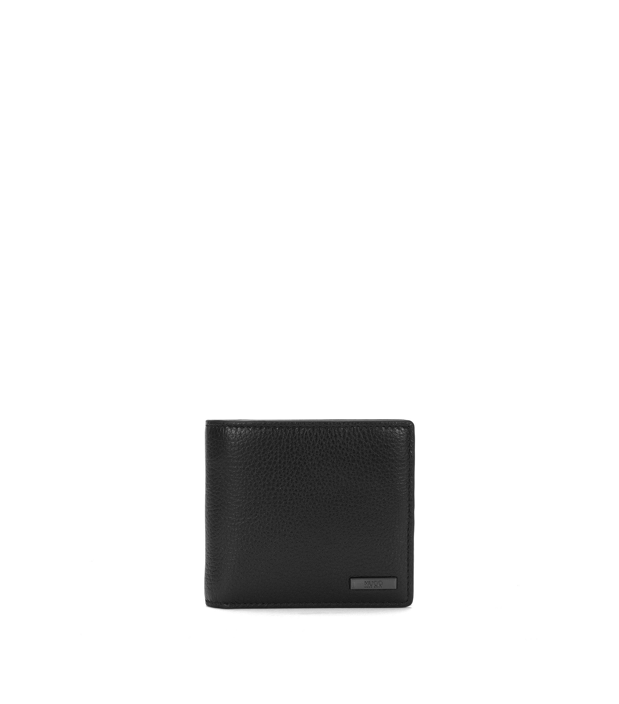 Openklapbare portemonnee van generfd rundleer, Zwart