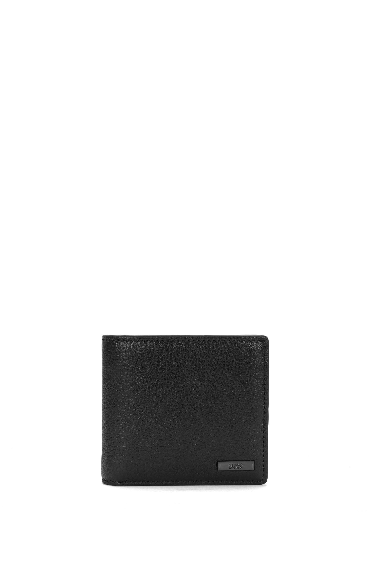 Bi-fold wallet in grainy leather by HUGO Man