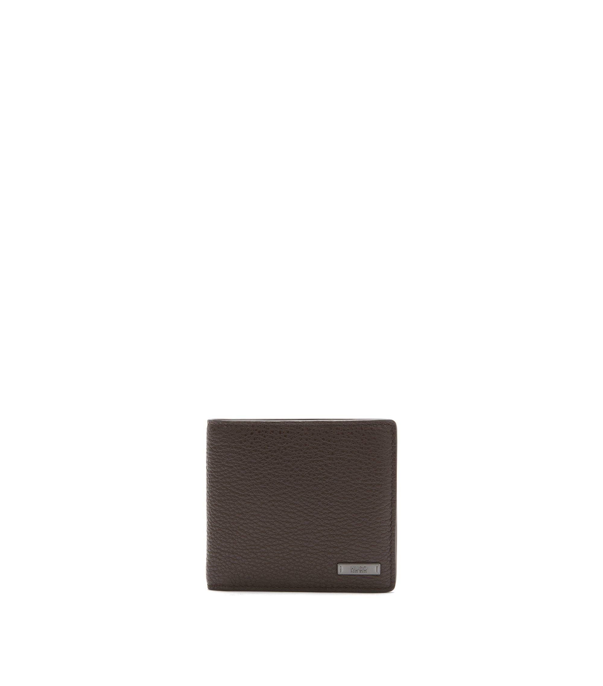 Openklapbare portemonnee van generfd rundleer, Donkerbruin