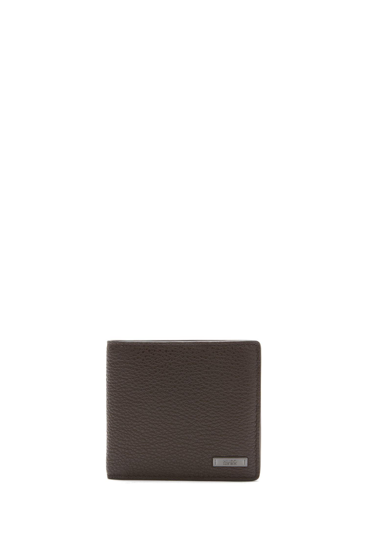 Bi-fold wallet in grainy leather by HUGO Man