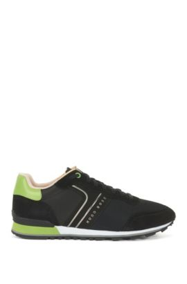 Lightweight lace-up trainers in hybrid fabric, Black