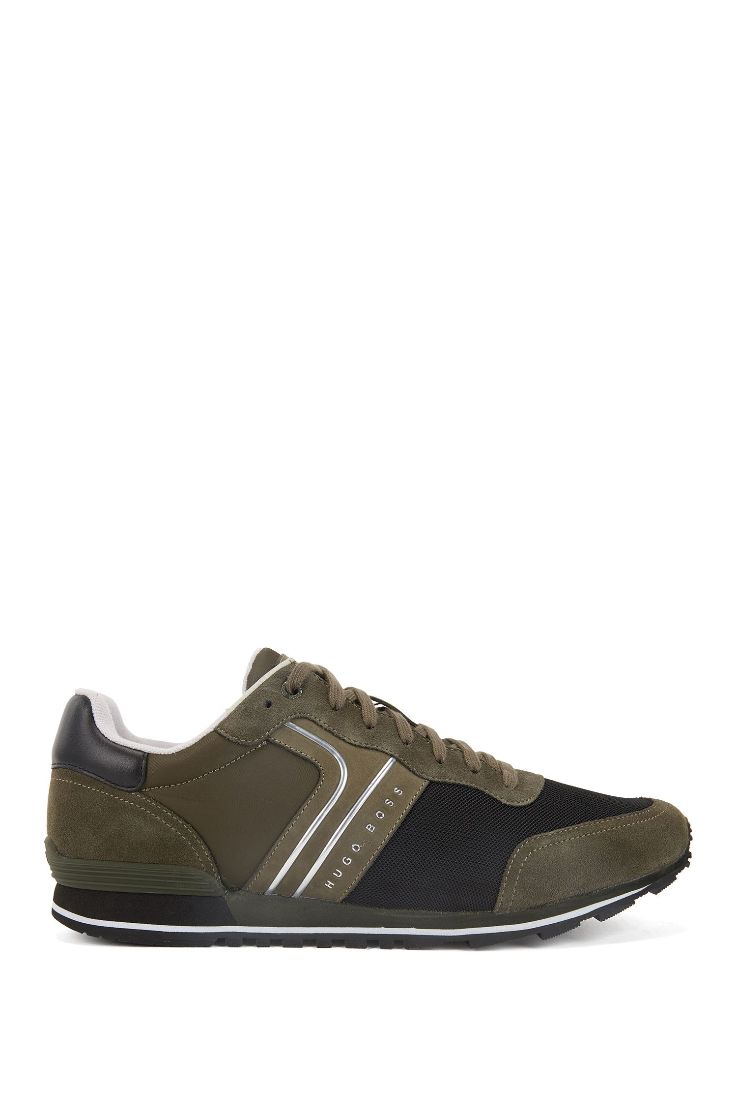 Lightweight lace-up trainers in hybrid fabric, Dark Green