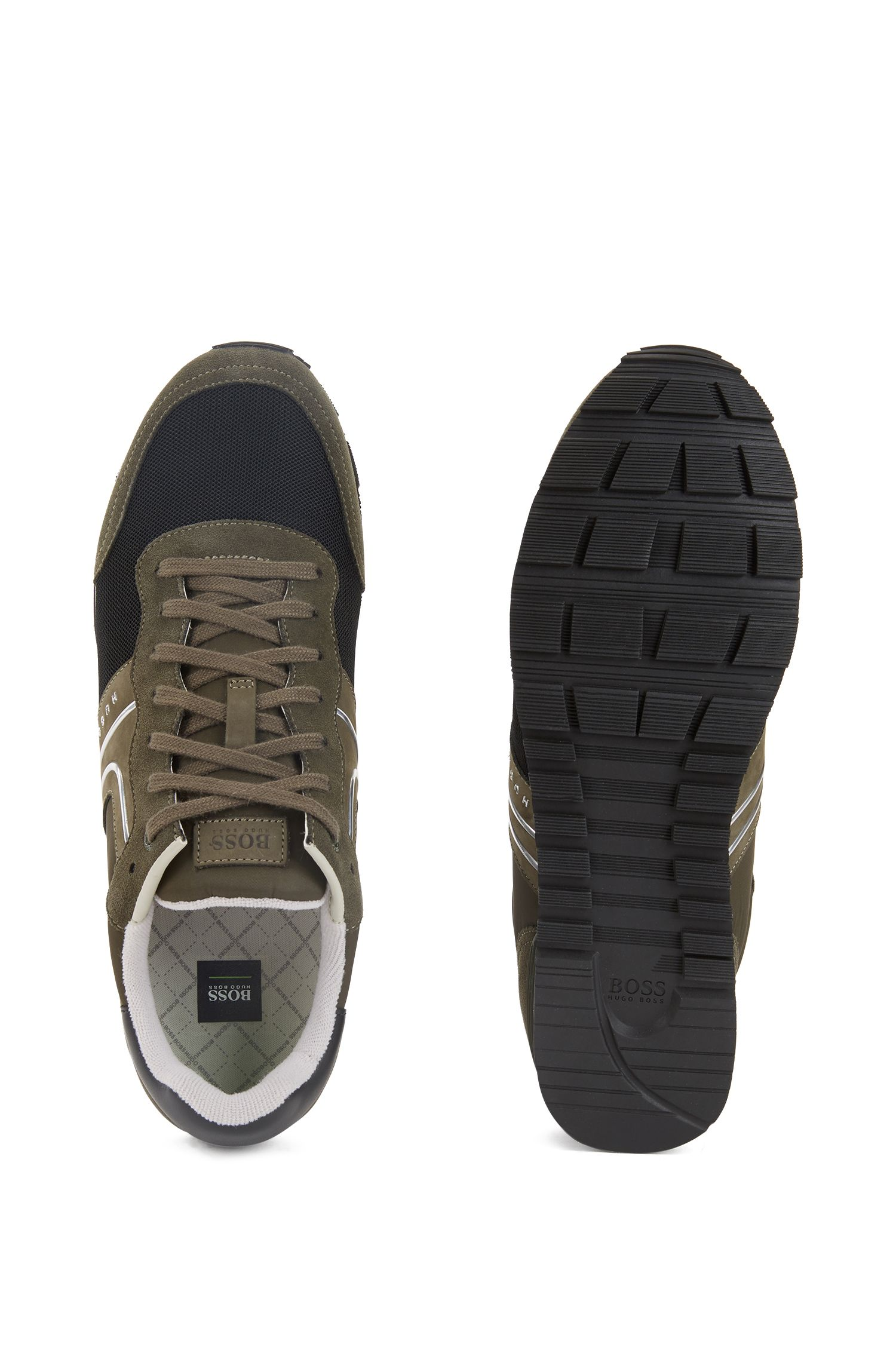 Lightweight lace-up trainers in hybrid fabric