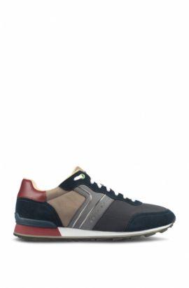 Leichte Sneakers aus Velours-, Nappa- und Nubukleder mit Mesh-Details, Dunkelblau