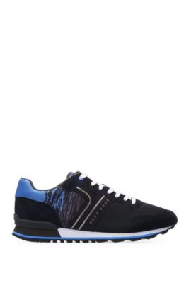 Leichte Sneakers aus verschiedenen Materialien mit Schnürung von BOSS Green, Dunkelblau