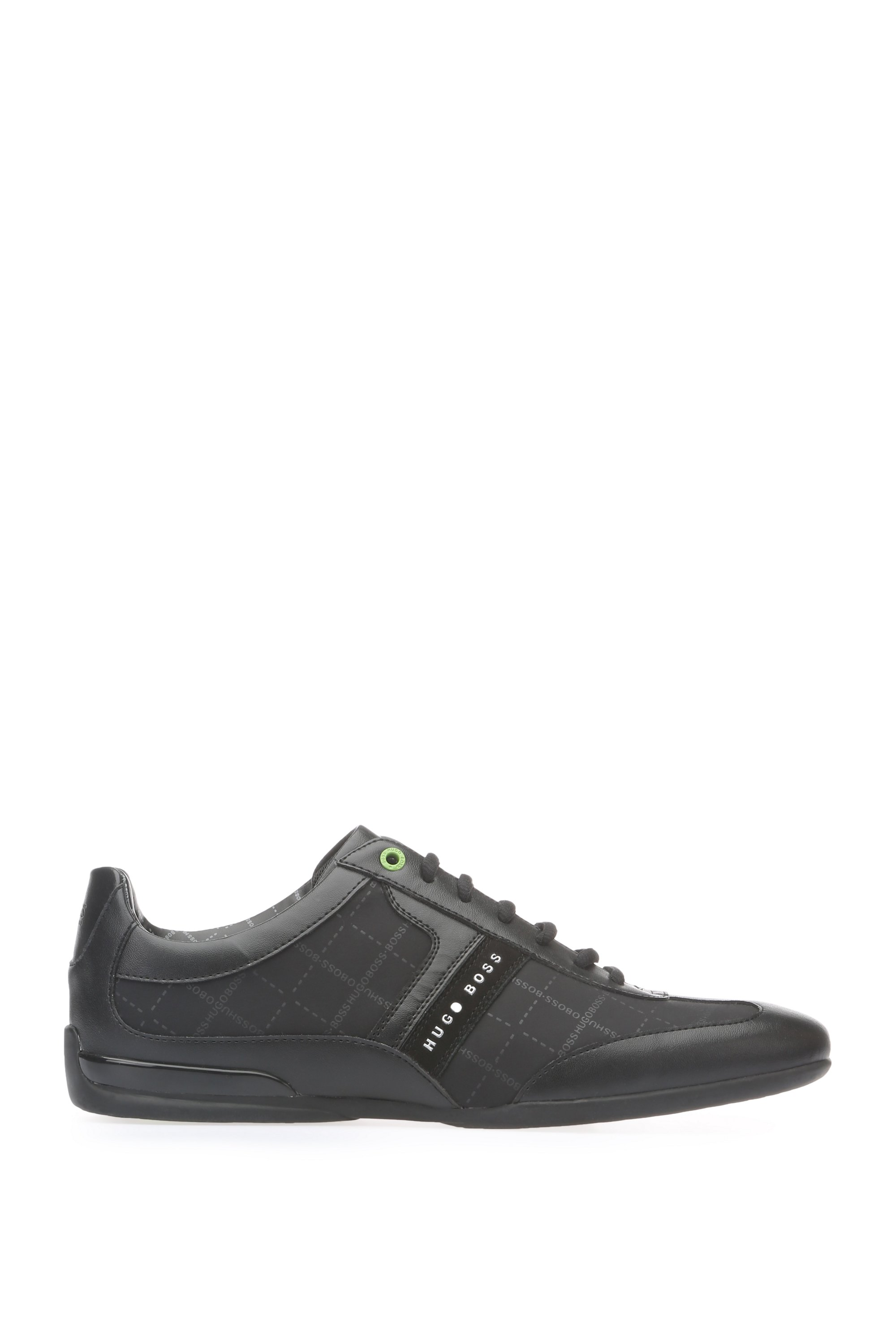 Low-top printed trainers with leather panels, Black
